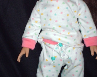 Heart pajamas for Americian Girl Doll (Doll not included)