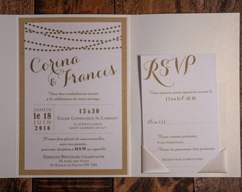 elegant and rustic wedding invitations, String Of Lights Invitation, String Of Lights, String Of Lights Wedding Invitations, Rustic elegance