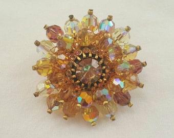 Topaz crystal brooch