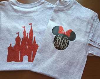 Girls disney front and back monogrammed T-shirt! Red glitter castle on back!