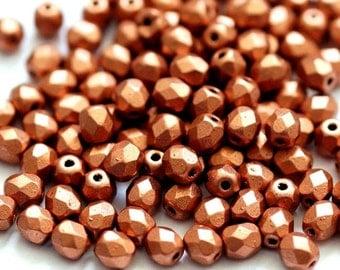 25 Czech glass beads 4 mm, matte metallic copper