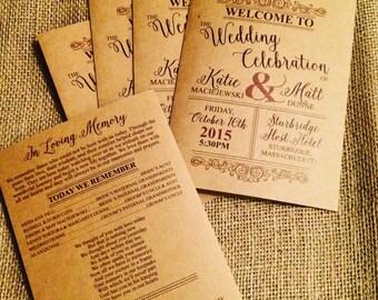 Wedding Program Folded Booklet