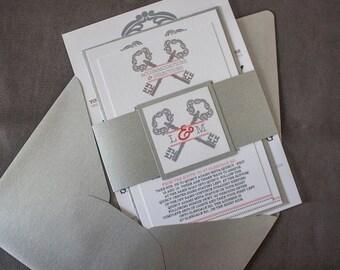 Vintage Key Theme Wedding Invitation Set