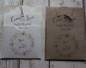 Personalised Rustic/Shabby chic Wedding Invitations Pocket & Tag Come for the love, stay for the party