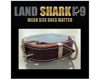 Small Brown Latigo Leather Dog Collar with Soft White Leather Inner Lining