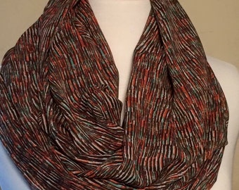 Infinity Scarf Multi-Colored Women's Gift Her Lightweight Scarf Orange Brown Scarves Spring Fall Winter Tube