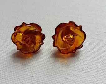 Baltic amber earrings,roses