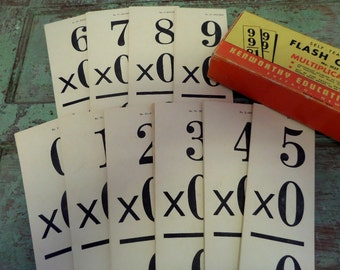 VINTAGE FLASH CARDS • Kenworthy No. 2137 • Multiplication Cards • 1948 • Crafting Cards • Supply • Old Math Cards • The Whiskered Kitten