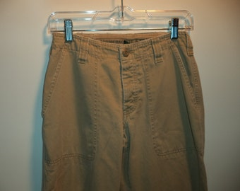 SALE 90s grunge pants// Outdoor khakis army carpenter mid waist// Vintage Abercrombie & Fitch// Women's size XS or 0-2 or 25-26 waist