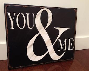 You & Me tin wall art