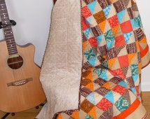 Lap Quilt Throw Quilt / Southwest Quilt / Southwestern Quilt/ Twin Quilt /Brown, Orange, Red, Turquoise / Gift / Minky /2nd Anniversary Gift
