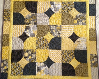 Yellow and black and white baby or infant quilt