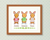 Custom Order for Kelley - Bunny Kids Art Print - Personalized Wall Art