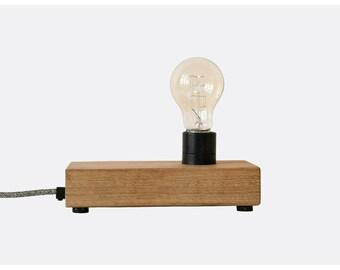 Oak wood block lamp