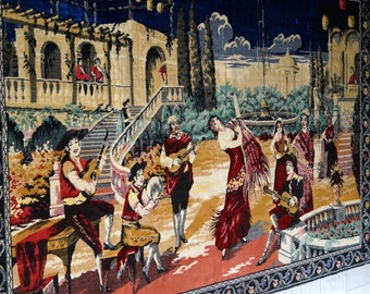"""Vintage """" Flamenco scene"""" Wall Tapestry-Made in  Italy Original Authentic Quality Of Velvet Rug Very large Italian tapestry 205 cm x 130 cm"""