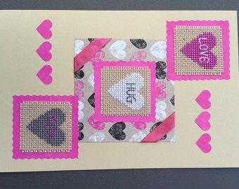 Love. Hug. Kiss.  Cross Stitch Greeting Card.