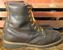 Vintage Work Boots / Mens Size 10 EE / Moccasin Toe / USA Made / Work N Sport / 1990's / Waxed Leather / Logger Boots / Dark Brown