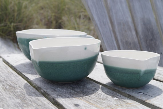 ceramic nesting bowl set mixing bowls pottery bowls by purmudd. Black Bedroom Furniture Sets. Home Design Ideas