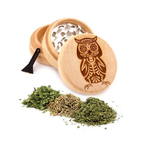 Owl Skull Design Engraved Premium Natural Wooden Grinder Item # PW91316-10