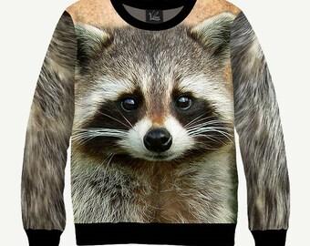 Raccoon * Racoon * Coon, Animal - Men's Women's Sweatshirt | Sweater - XS, S, M, L, XL, 2XL, 3XL, 4XL, 5XL