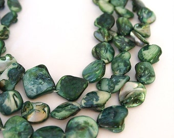 Strand Mother Of Pearl Nuggets Shell Beads Forest Green 16 inch strand