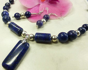 Lapis lazuli necklace set with Lapis pendant