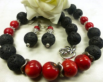 Magnificent lava set with coral