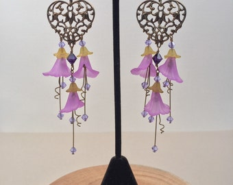 Brass filigree and acrylic flower chandeilier earrings