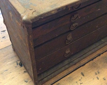 Rustic Wooden Machinist Tool Box (A018)