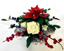 """Christmas  floral decoration """"Ruby star"""" with flowers and berries made of air dry polymer clay"""