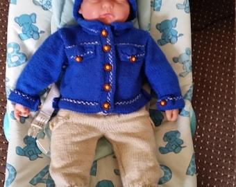 Handknitted denim jacket and chinos set