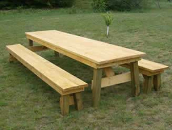 Classic picnic table with separate benches how to plan - Table picnic bois enfant ...