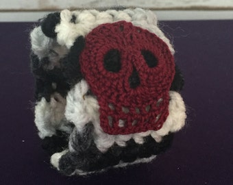 Black and White Striped Cuff with Maroon Skull