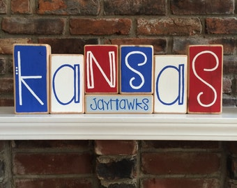 University of Kansas Jayhawks Decor Blocks