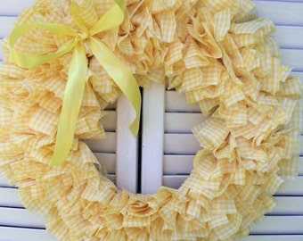 Yellow Plaid Spring Wreath