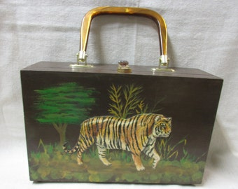 Vintage Decopague Wooden purse with Dimensional  Big Cats - Tiger and Leopard