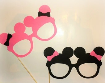 Mickey photo booth props Minnie photo booth props Mickey Mouse ears Minnie Mouse decorations Mickey Mouse cutouts