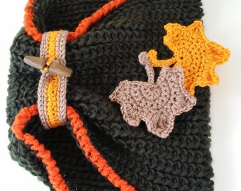 Neck of wool with a flourish of autumn leaves - Wool Neckwarmer with autumn leaves brooch