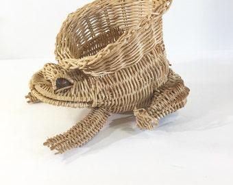Vintage wicker frog plant holder