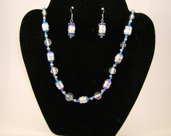 Shiny Happy Blue and Purple Necklace and Earring set