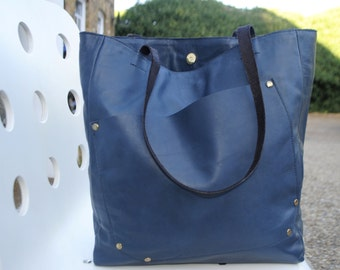 Navy blue leather tote office bag/ business bag