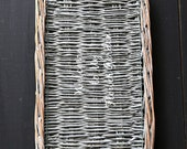 Vintage silver wicker serving tray with glass