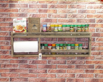 Spice rack with kitchen roll holder