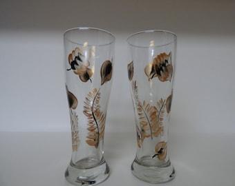 Hand Painted Copper & Black leaves Pilsner Beer Glass-1, Craft Beer Glass, Barware