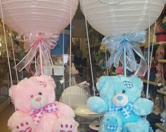 Hot Air Balloon Baby Bear Centerpieces with Lantern, baby shower centerpieces, room decor