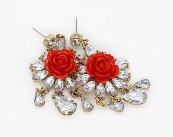 Crystal flower drop & dangle earrings - coral red