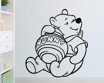 Disney Winnie the Pooh with his Hunny Pot Kids Wall Art Self Adhesive Vinyl Stencil Decal Transfer.
