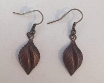 Rusted Colored Leaf Earrings