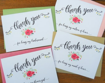 Wedding THANK YOU CARDS, Thank You Card Sets, Thank Maid of Honor Cards, Thank Bridesmaid Cards, Thank Flower Girl Cards, Wedding Stationery