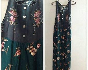 90s green floral dress